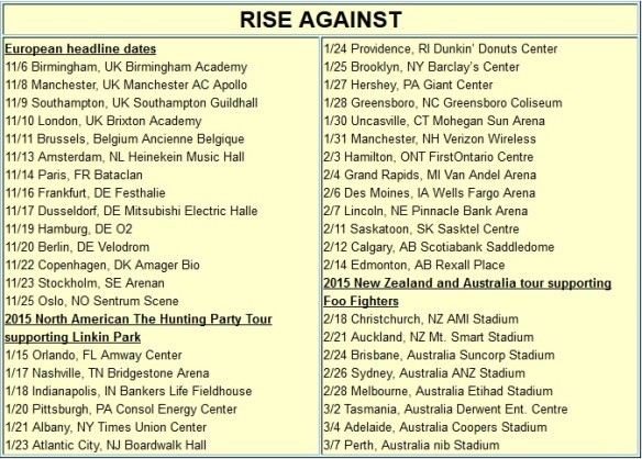 Rise Against-Linkin Park Hunting Party Tour Schedule