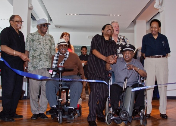 Blues Hall of Fame inductees at BHOF ribbon cutting ceremony: Otis Clay, Eddie Shaw, Big Jay McNeely, Bobby Rush, John Hammond, Tommy Brown, Billy Boy Arnold. Photo by Mariah Selitsch