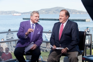 San Francisco, CA - February 7, 2016 - Marina Green: Mike Ditka (l) and Chris Berman on the set of Postseason NFL Countdown during coverage for Super Bowl 50 (Photo by Peter DaSilva / ESPN Images)