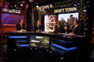 Chicago, IL - April 30, 2015 - Auditorium Theatre: Mel Kiper Jr., Jon Gruden, Louis Riddick and Chris Berman on the set during the 2015 NFL Draft Presented by Bose (Photo by Allen Kee / ESPN Images)