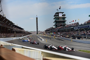 Indianapolis, IN - May 24, 2015 - Indianapolis Motor Speedway: Will Power (1) and Simon Pagenaud (22) competing in the 99th Indianapolis 500 (Photo by Phil Ellsworth / ESPN Images)